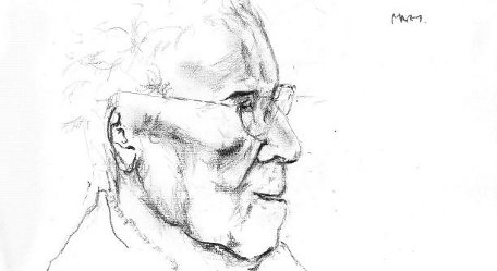 Pencil drawing of elderly care home resident